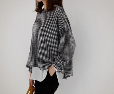 [LBL41P62] moki Balloon checked blouse