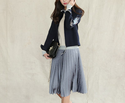 [ICD89RC other] embroidery key point Zip Cardigan