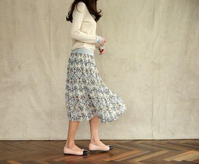 [HSK79P97] Barney Pleats printing Skirt