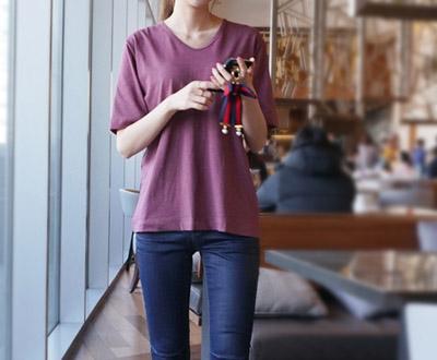[MCTP37P107 Al] Weinhaus V-neck Short T shirts