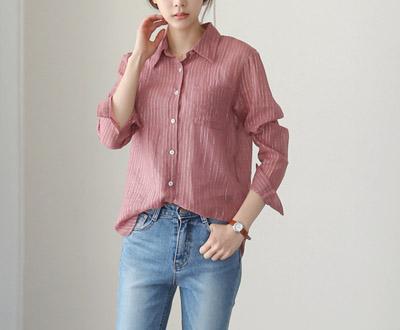 [FSH61D349] Empty metal Stripe-necked Shirt