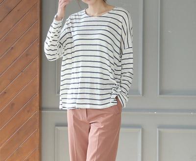 [MCTP42D352] Linen Stripe Long Sleeve Tee