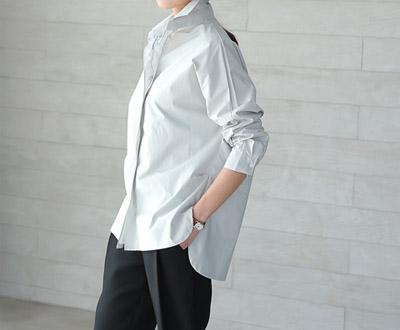 [FSH64P151] Goose zipper detail Shirt