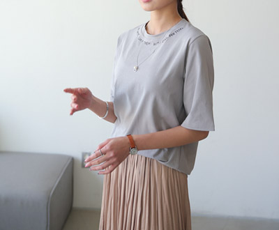 [MCTP48P211] Modern Embroidery Short T shirts