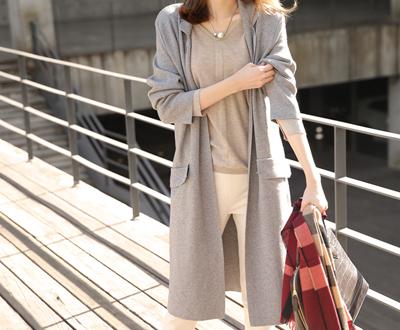 [IJK22OJN] DK chic Long knit coat