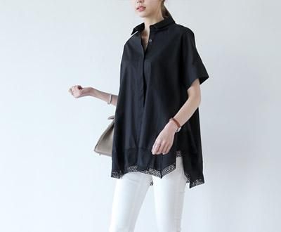 [MBL03OJN] Beige silk lace color combination Shirt