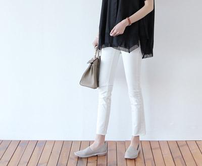 [MPT98P273] pastel bottom half cut boot-cut pants
