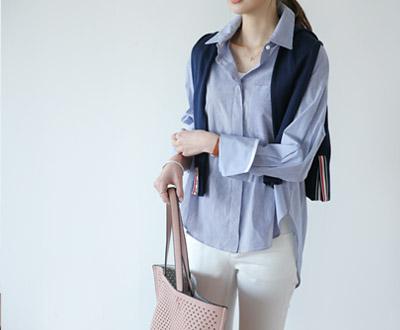 [FSH66P486BN] Dickie Pearl Button Stripe Shirt