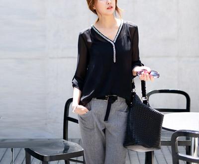 [HBL02OJ] Selina see-through blouse