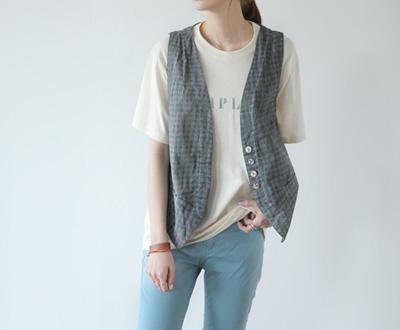 [EVT89OJN] Linen Check Vest