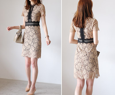 [LOP91JP26 to] See-through look key point Lace dress