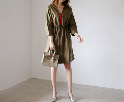[LOP93OJN_N8] no red color cotton dress Marnier