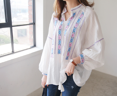 [MBL09JP3] Pink Ethnic Embroidery Blouse