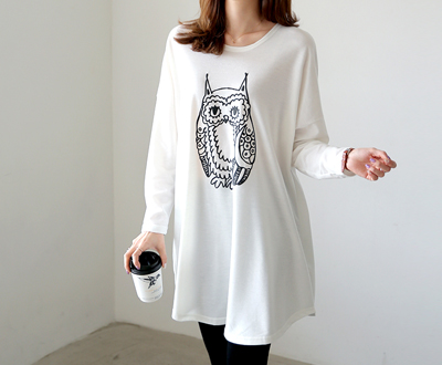 [MCTP61D366] Owl Long One Piece Tee