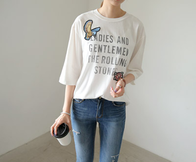 [MCTP63P97] Rolling Stone Willow Patch Short T shirts