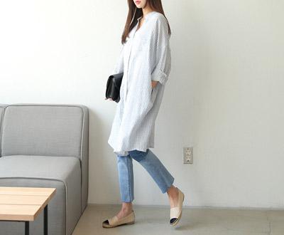 [FSH68D351] beaker Stripe-necked Long shirt