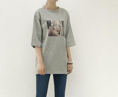 [MCTP69D370] Square Blondie Long Short T shirts