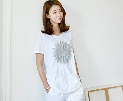 [ICTP41P491B] Big Flower Short T shirts