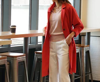 [IJK78P107] Bruno Linen Long Jacket