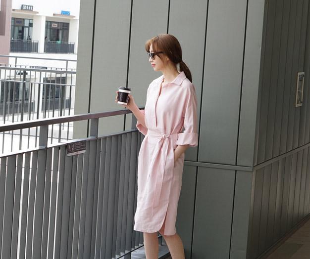 [MOP07KY Ta _B] Lavender Linen Shirt One Piece
