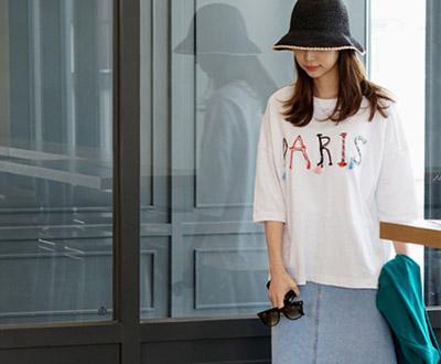 [MCTP78CL] Paris font patch Short T shirts