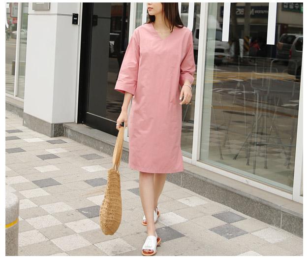 [MOP12P107Hermp] Hermp V-neck Cotton Dress by Rennian