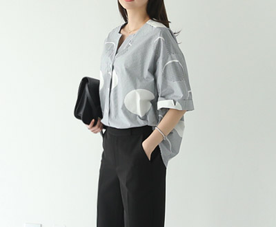 [MBL24P231 コ ッ ト] Stripe dot pattern Blouse