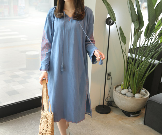 [MOP08D377_N] Bali embroidery Denim One Piece