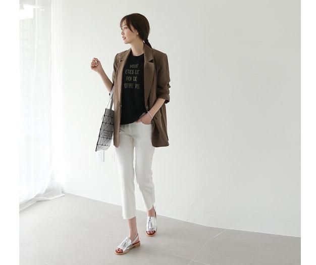 [IJK80T10_B] Prosum chic Linen Jacket