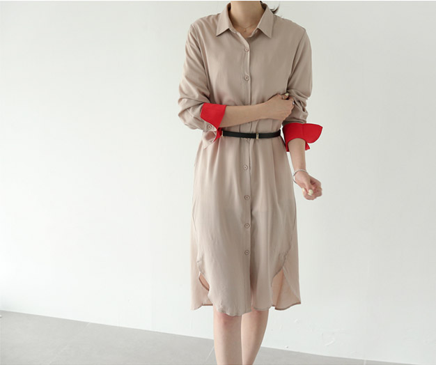 [FSH72P280] Red color combination chic Long Shirt
