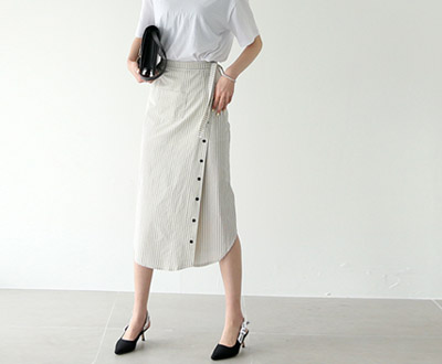 [HSK94P285] Madeleine Stripe Wrap Skirt