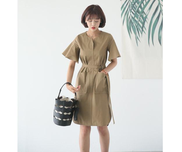 [MOP29YC] Shoulder flared Cotton Dress S formulation
